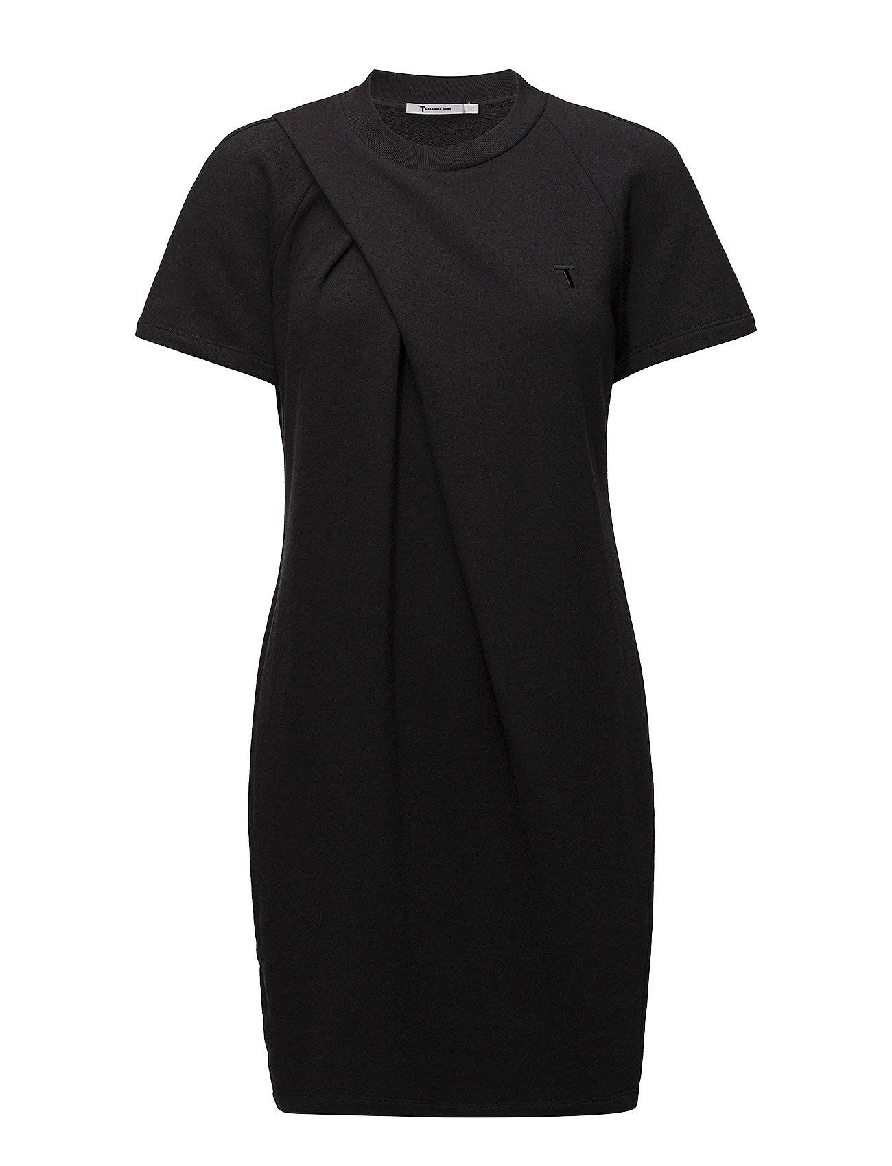 T by Alexander Wang Soft French Terry S/S Dress W/ Asymmetric Drape