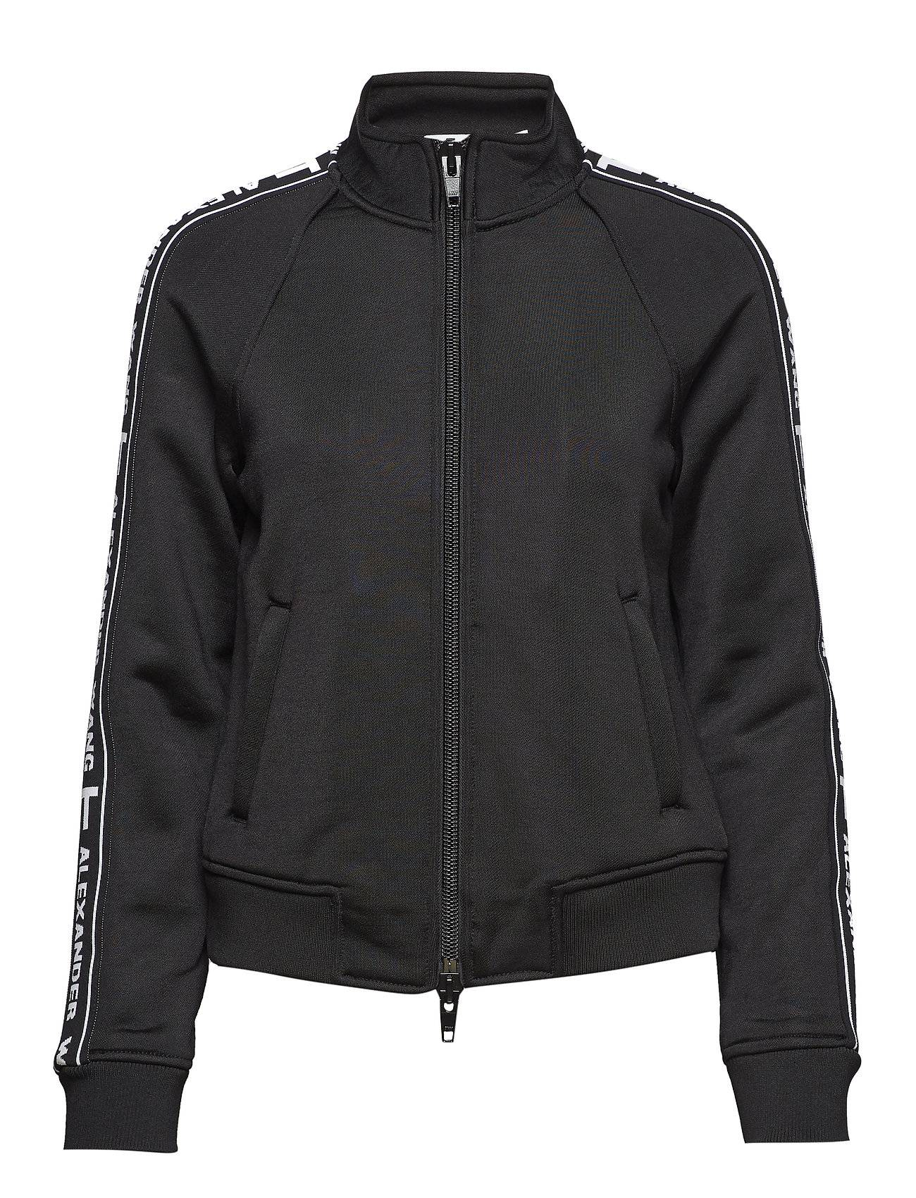 T by Alexander Wang Sleek French Terry Full-Zip Shrunken Track Jacket