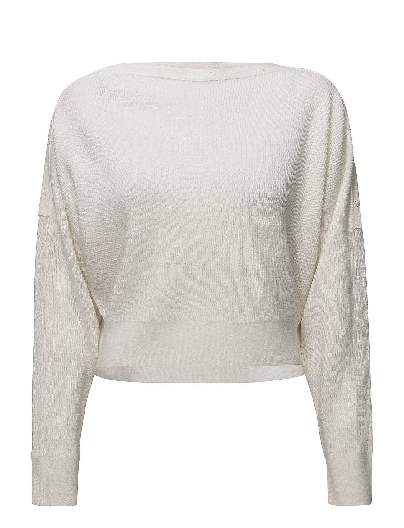 T by Alexander Wang Snap Detail Off-Shoulderl/S Crop Sweater