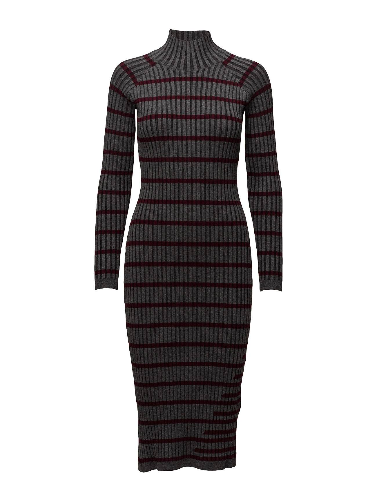 T by Alexander Wang Fitted Rib W/ Stripe Intarsia L/S Turtleneck Dress