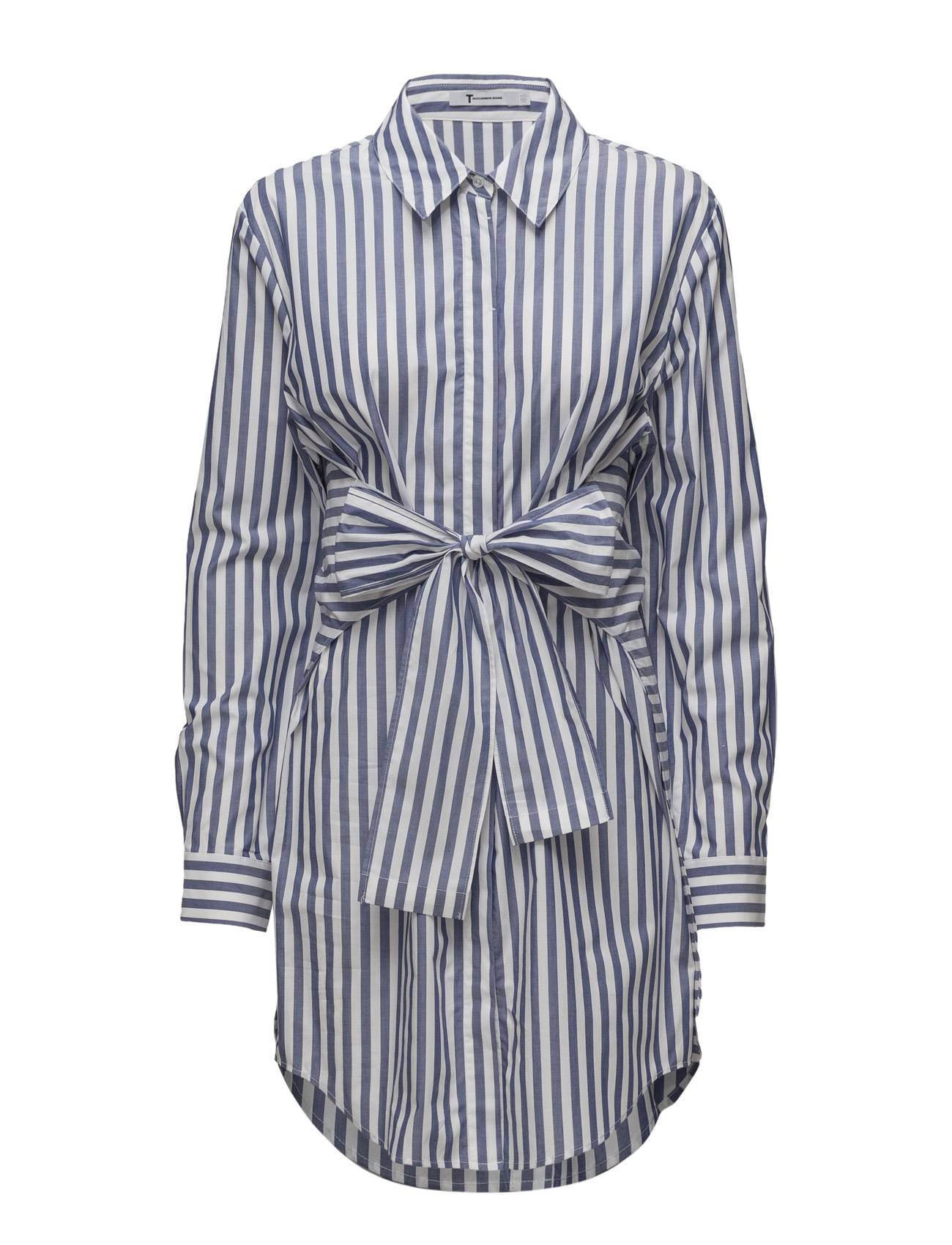T by Alexander Wang L/S Tie Front Collared Dress