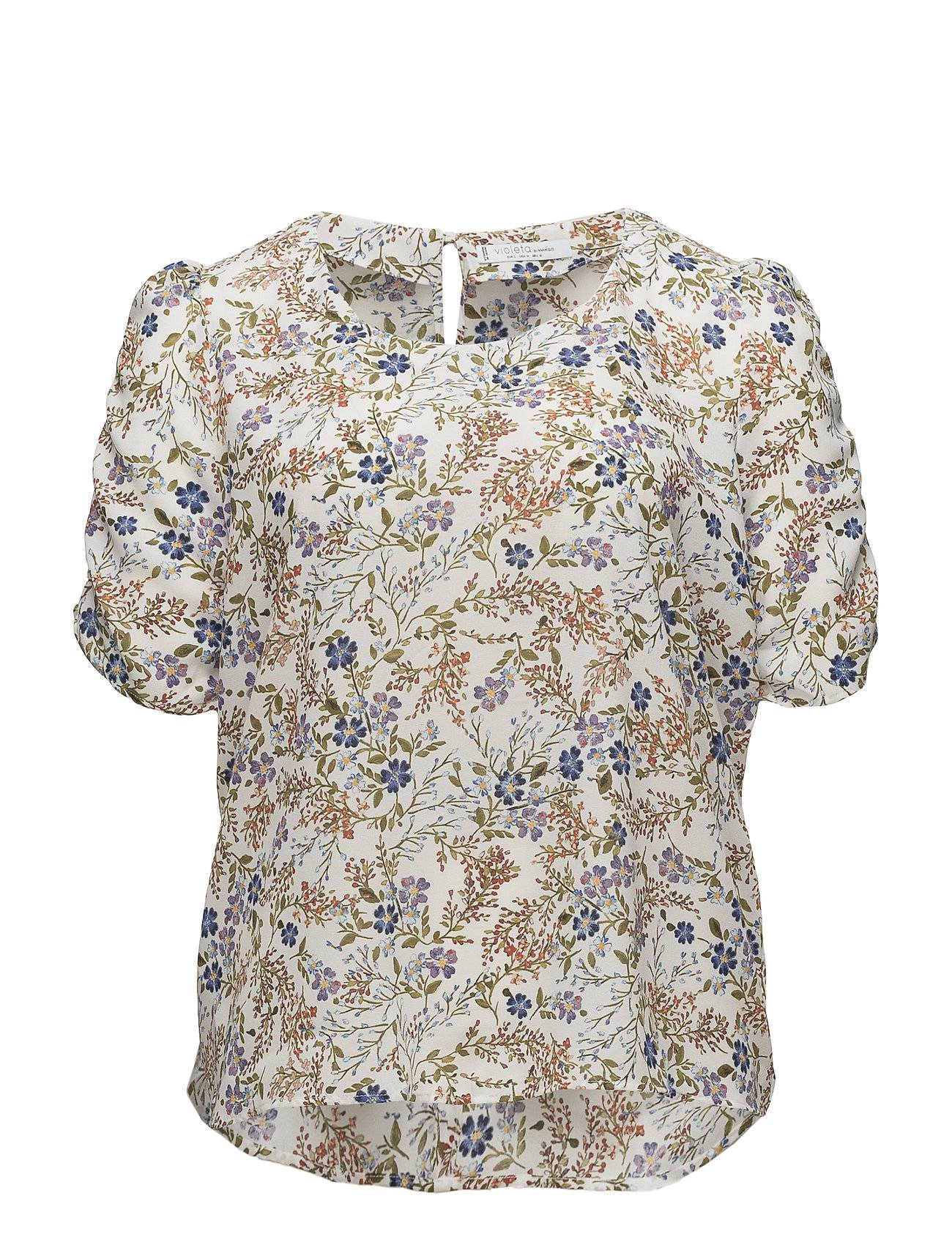 Violeta by Mango Puffed Sleeves Floral Shirt