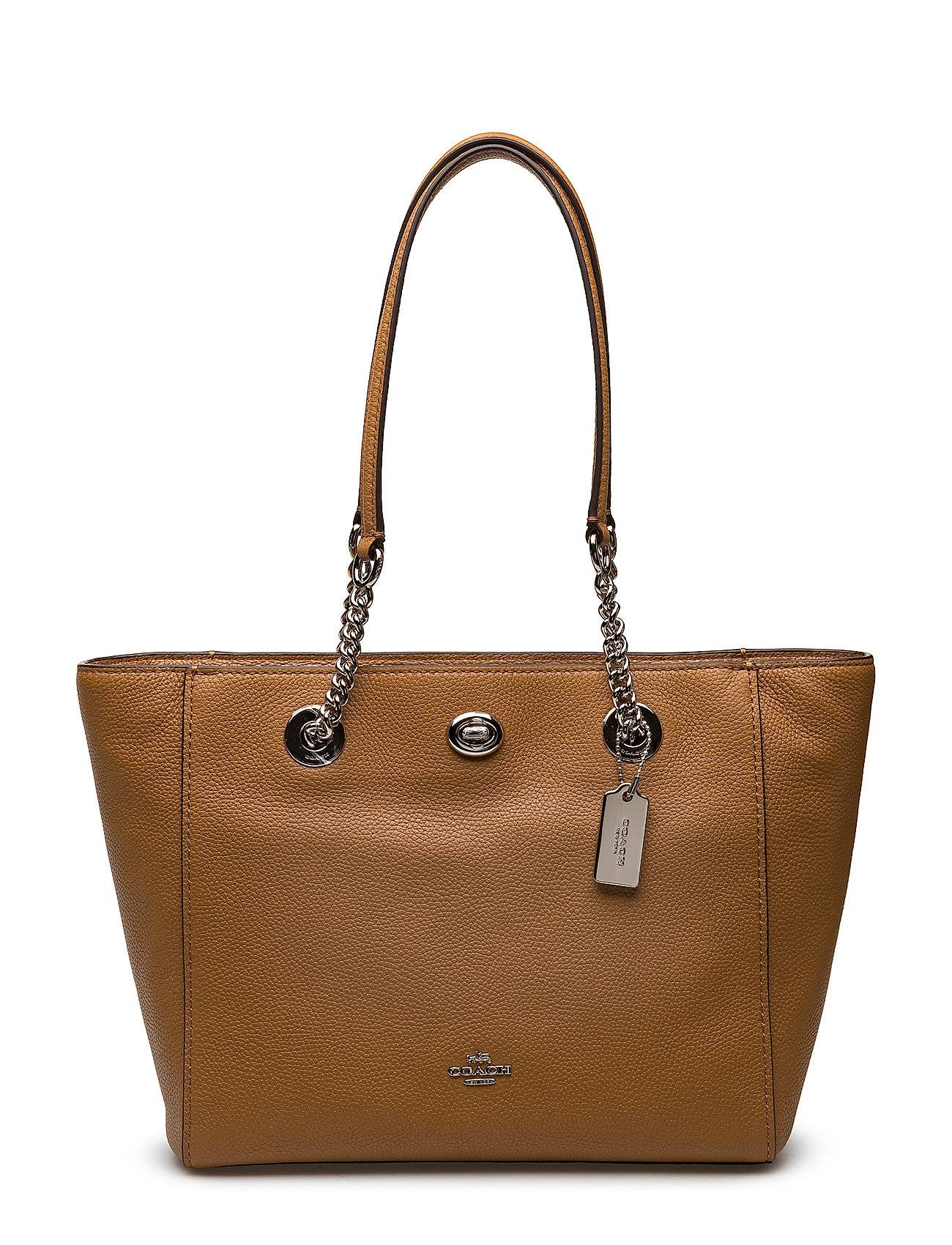 Coach Polished Pbble Lthr Turnlock Chain Tote 27