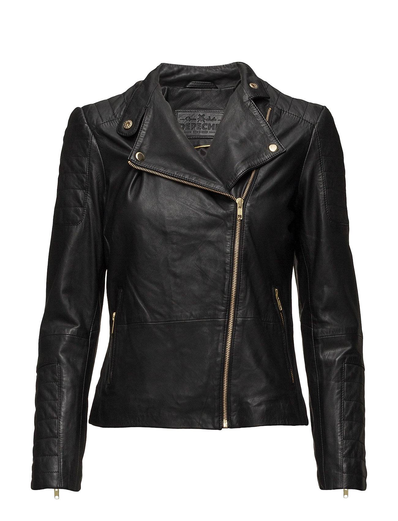 DEPECHE Classic Biker Jacket With Zipper Details
