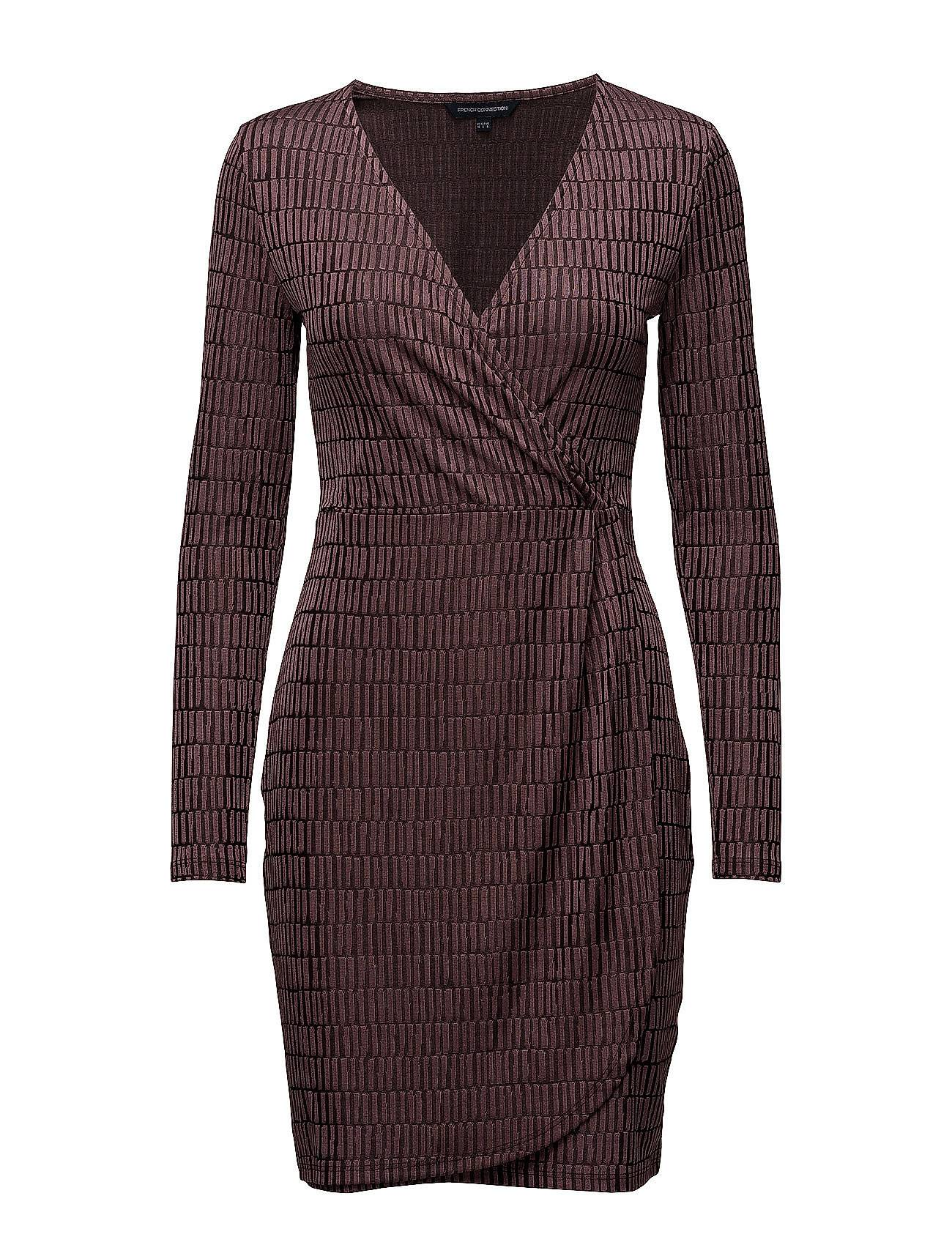 French Connection Linear Jazquard Vneck Dress