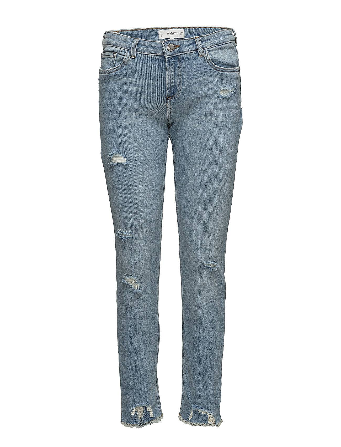 Mango Ripped Details Slim-Fit Jeans