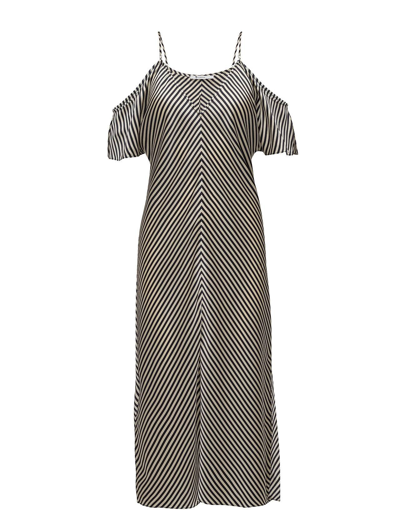 T by Alexander Wang Striped Silk Shirting Cold Shoulder Midi Dress