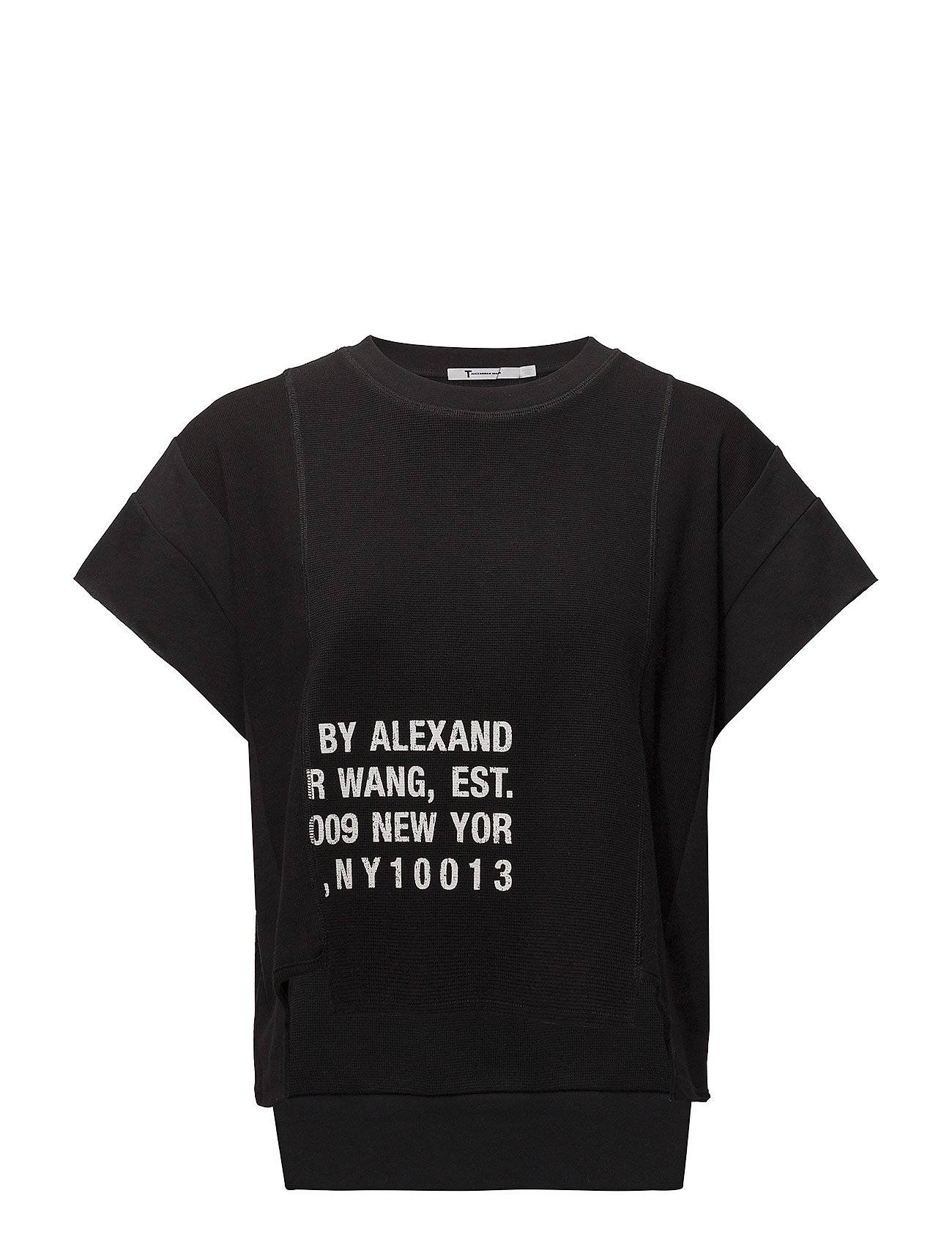 T by Alexander Wang Waffle Jersey Rib Combo Cap Sleeve Top