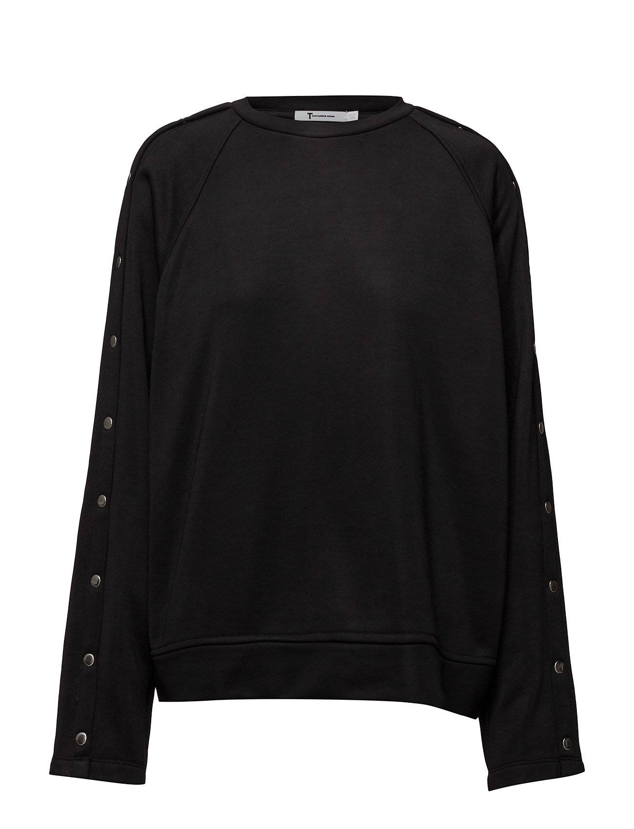T by Alexander Wang Sleek French Terry Crewneck Sweatshirt W/ Snaps
