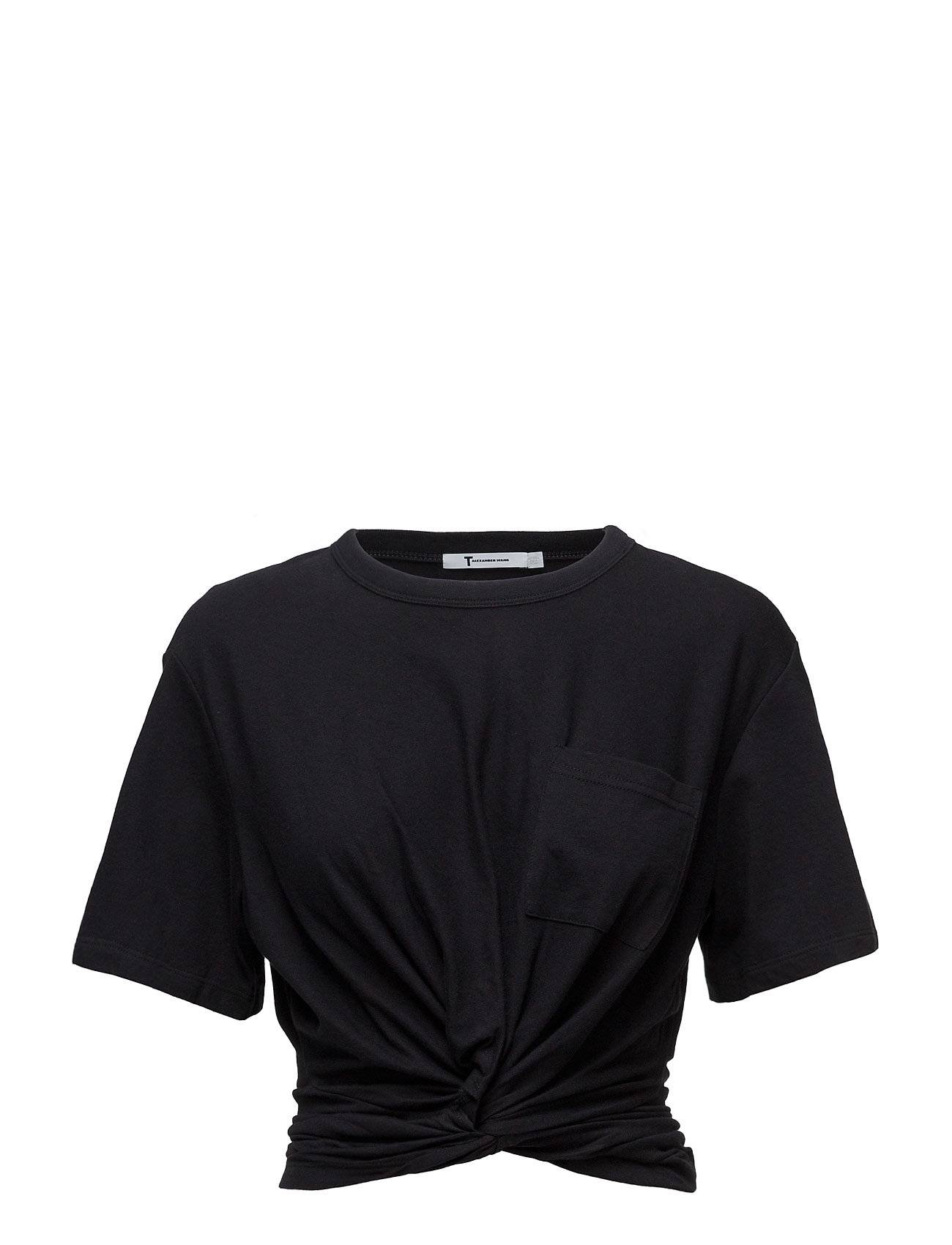T by Alexander Wang Cotton Jersey Front Twistshort Sleeve Tee