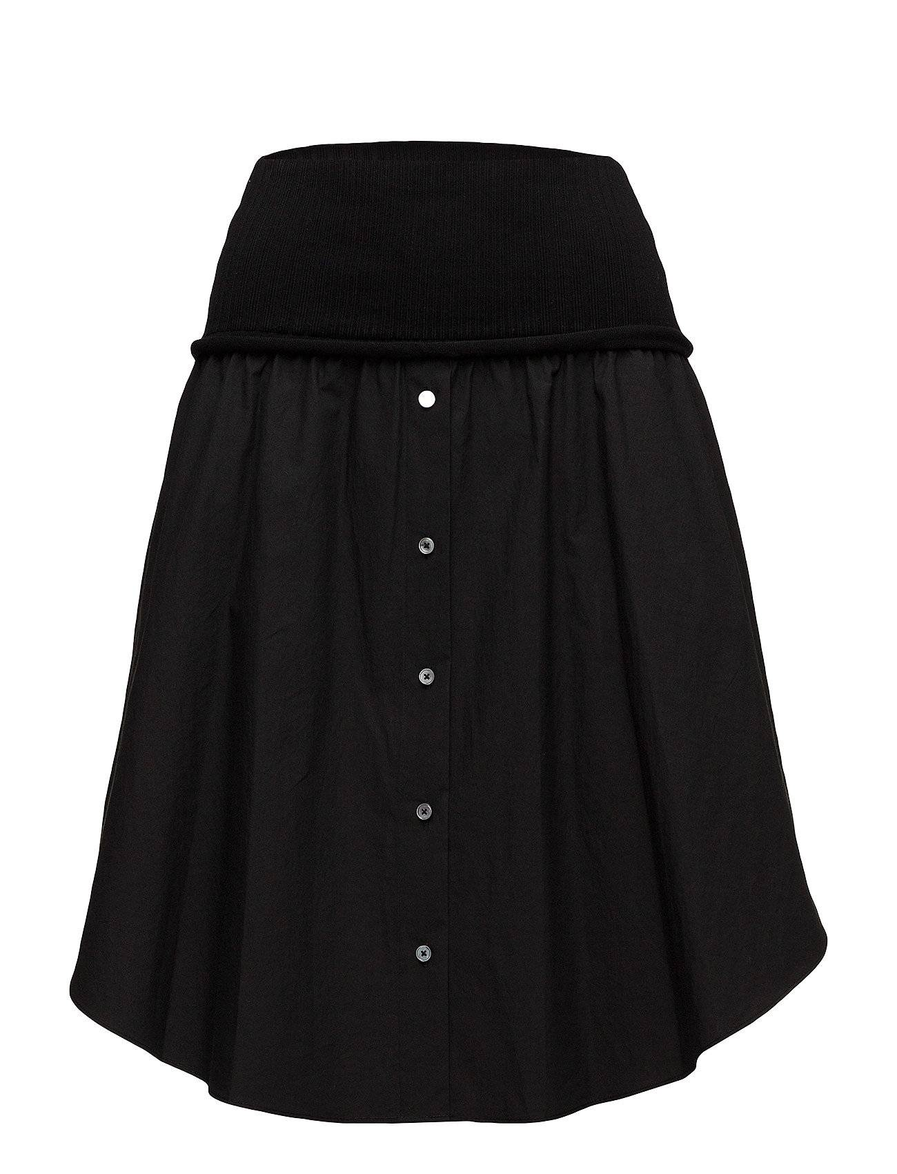 T by Alexander Wang Washed Cotton Poplin Skirt W Rib Combo