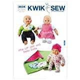 KWIK-SEW PATTERNS Kwik Sew Patterns K3834 Size Fits 16-inch Baby Dolls Doll Clothes, Pack of 1, White
