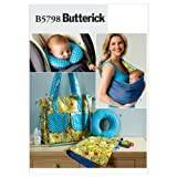 Butterick Patterns B5798 Size One Size Baby's Changing Pad, Neck Support, Carrier and Diaper Bag, Pack of 1, White