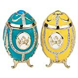 Design Toscano Russian Imperial Eagle Faberge-Style Enamelled Eggs - Set of 2