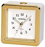 Vedette VR10083–Alarm Clock with Non-Ticking Sweep Second Hand –Alarm Snooze Repetition Function –Built-In Blue Light–Analogue Quartz–White Dial–White/Gold–8x 8x 4.2cm