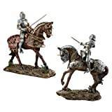 Design Toscano Knights of Blenheim Palace Sculptures - Set Includes: Red Knight and Silver Knight
