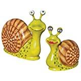 Design Toscano Madame and Monsieur Escargot, Enormous Garden Snail Statue Set