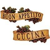 Design Toscano Abbondanza Sculptural Wall Plaque Collection - Set Includes: Buon Appetite and Cucina