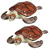 Design Toscano Flat Back Sea Turtle Statue - Set of 2