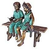 Design Toscano Read to Me, Boy and Girl on Bench Cast Bronze Garden Statue