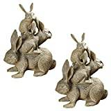 Design Toscano Bunched Bunnies Cast Iron Statue - Set of 2