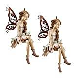 Design Toscano Fannie, the Fairy Sitting Statue - Set of 2
