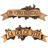 Design Toscano La Dolce Vita and in Vino Veritas Sculptural Wall Plaques