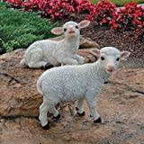 Design Toscano Yorkshire Lamb Garden Statues - Sitting Lamb and Standing Lamb