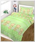 BlueberryShop Baby Cot Duvet and Pillow Covers Bedding Set, Green Happy Teddy, 2-Piece