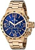 TW Steel Canteen Unisex Quartz Watch with Blue Dial Chronograph Display and Silver Rose Gold Bracelet CB183