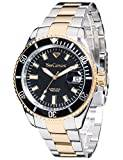 Yves Camani Gents Watch Quartz Stainless steel case, mineral glass, stainless steel band, application Black / Bicolour YC1065–D