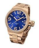 TW Steel Canteen Unisex Automatic Watch with Blue Dial Analogue Display and Silver Rose Gold Bracelet CB186