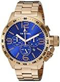 TW Steel Canteen Unisex Quartz Watch with Blue Dial Chronograph Display and Silver Rose Gold Bracelet CB184