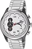 PUMA Velocity unisex quartz Watch with white Dial chronograph Display and silver stainless steel Bracelet PU103131001
