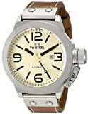 TW Steel Canteen Leather Unisex Automatic Watch with Yellow Dial Analogue Display and Brown Leather Strap CS16
