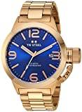 TW Steel Canteen Unisex Quartz Watch with Blue Dial Analogue Display and Silver Rose Gold Bracelet CB181