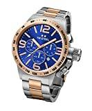 TW Steel Canteen Unisex Quartz Watch with Blue Dial Chronograph Display and Silver Stainless Steel Bracelet CB144