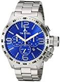 TW Steel Canteen Unisex Quartz Watch with Blue Dial Chronograph Display and Silver Stainless Steel Bracelet CB14