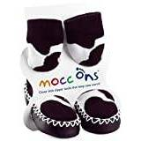 Mocc Ons Cute Moccasin Style Slipper Socks - Cow Print
