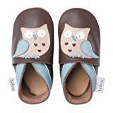 Bobux BBG 4243 Baby Shoes with Owl Giants Design Brown