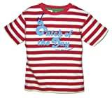 Little Green Radicals organic Fairtrade cotton Catch Of The Day T-shirt  (Red & White Stripes, 4-5 Years)