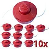 Nemaxx 10x Nemaxx FS2 Line Spool Two-string Nylon Garden Trimmer Strimmer Substitute Reel for Petrol Grass Trimmer - red