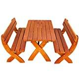 Ultranatura Bilbao Outdoor Furniture Set – 2 Benches / 1 Table Made of Solid Spruce Wood, Impregnated