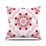 """KESS InHouse AS1012DOP03 18 x 18-Inch """"Anneline Sophia Lets Dance Red Pink Floral"""" Outdoor Throw Cushion - Multi-Colour"""