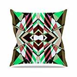 "KESS InHouse PS1003AOP03 18 x 18-Inch ""Pia Schneider SWEEPING LINE PATTERN I-E4B Green Diamond"" Outdoor Throw Cushion - Multi-Colour"