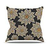 """KESS InHouse PG1004AOP03 18 x 18-Inch """"Pom Graphic Design Floral Dance in The Dark"""" Outdoor Throw Cushion - Multi-Colour"""