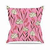 "KESS InHouse AR2011AOP03 18 x 18-Inch ""Amy Reber White Floral Pink Pattern"" Outdoor Throw Cushion - Multi-Colour"