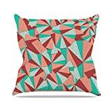"""KESS InHouse DI1132AOP03 18 x 18-Inch """"Danny Ivan Marsala Pattern Teal Red"""" Outdoor Throw Cushion - Multi-Colour"""