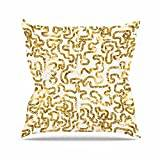 """KESS InHouse AS1051AOP03 18 x 18-Inch """"Anneline Sophia Squiggles in Gold Yellow White"""" Outdoor Throw Cushion - Multi-Colour"""