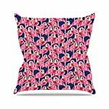 "KESS InHouse AR2003AOP03 18 x 18-Inch ""Amy Reber Flamingo Pink Purple"" Outdoor Throw Cushion - Multi-Colour"